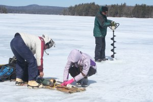 Setting up at one of the deepest locations on Lake Wentworth.
