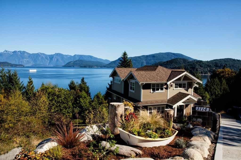 house lake mountains plants