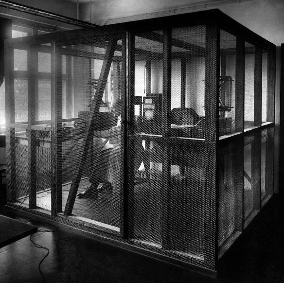 Early Faraday cage, Germany 1931. Via Getty Images.