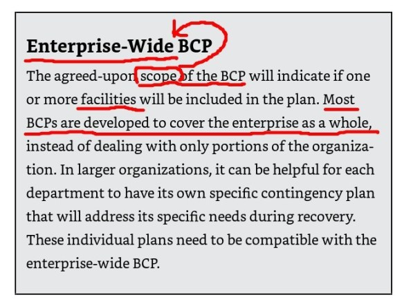 Enterprise-wide BCP
