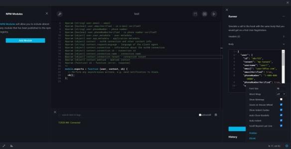 Auth0 Hooks: Post User Registration - Development Console