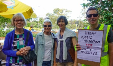 WEPA Members Christina Pender, Heidi Key, Diana Weston and John Moratelli at the Stop the Tunnels Rally, Naremburn, 30 Nov 2018