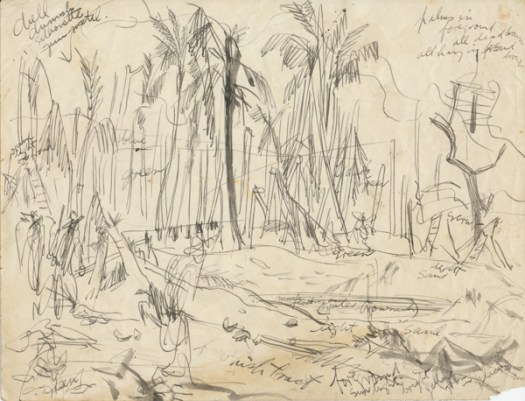 Sketch study for 'Patrol, Sio', New Guinea