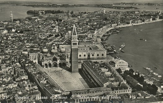 St Mark Square and Dock from the aeroplane, Venice