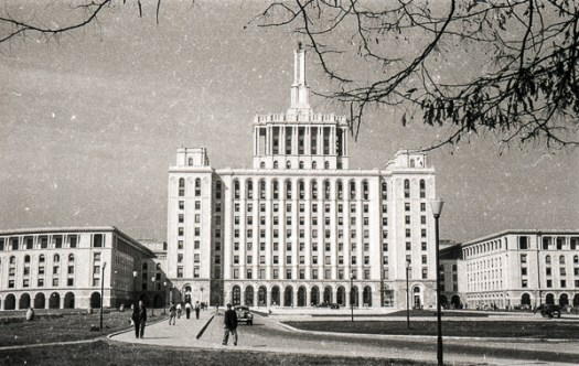 "Combinatul Poligrafic Casa Scînteii ""I.V.Stalin"" now known as Casa Presei Libere (House of the Free Press), Bucharest, Romania; 5 October 1956. Construction began in 1952 and was completed in 1956. The building was named Combinatul Poligrafic Casa Scînteii ""I.V.Stalin"" and later Casa Scînteii (Scînteia was the name of the Romanian Communist Party's official newspaper). It was designed by the architect Horia Maicu, in the style of Soviet Socialist realism, resembling the main building of the Moscow State University, and was intended to house all of Bucharest's printing presses, the newsrooms and their staff. - http://www.flickr.com/photos/cristina_/336794051/ viewed 4 Jul 2011"