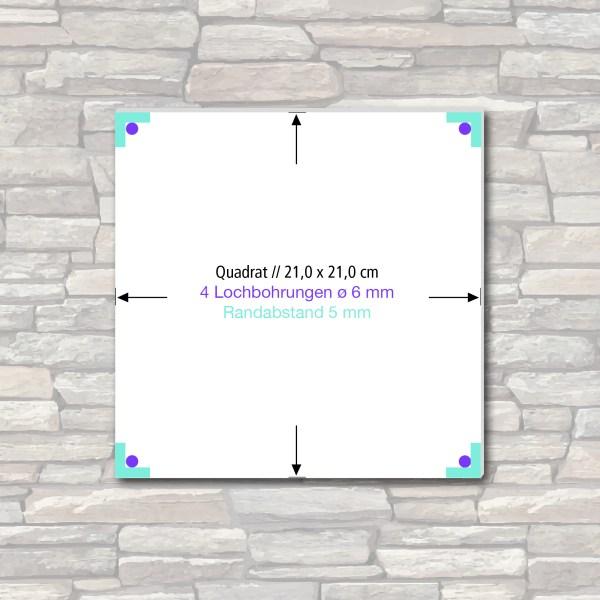 Acrylglas-Schild, Format 21 x 21 cm