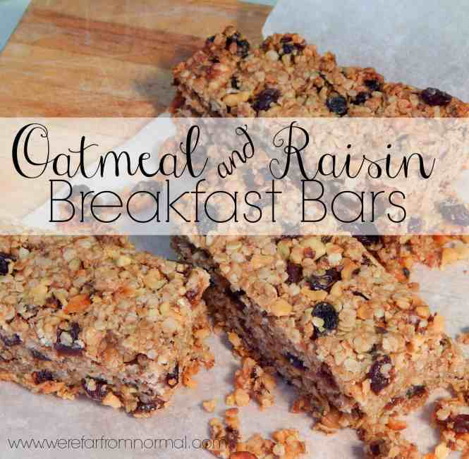Oatmeal and Raisin Breakfast bars- these are so hearty and delicious they are a favorite in my house!