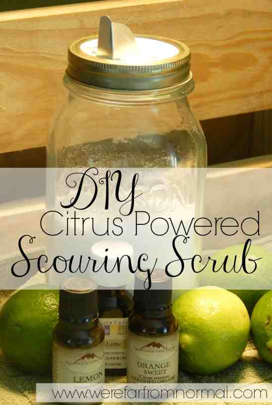 DIY Citrus Powered Scouring Scrub. An all natural blend combines with the power of citrus essential oils to create a scrub great for any surface.