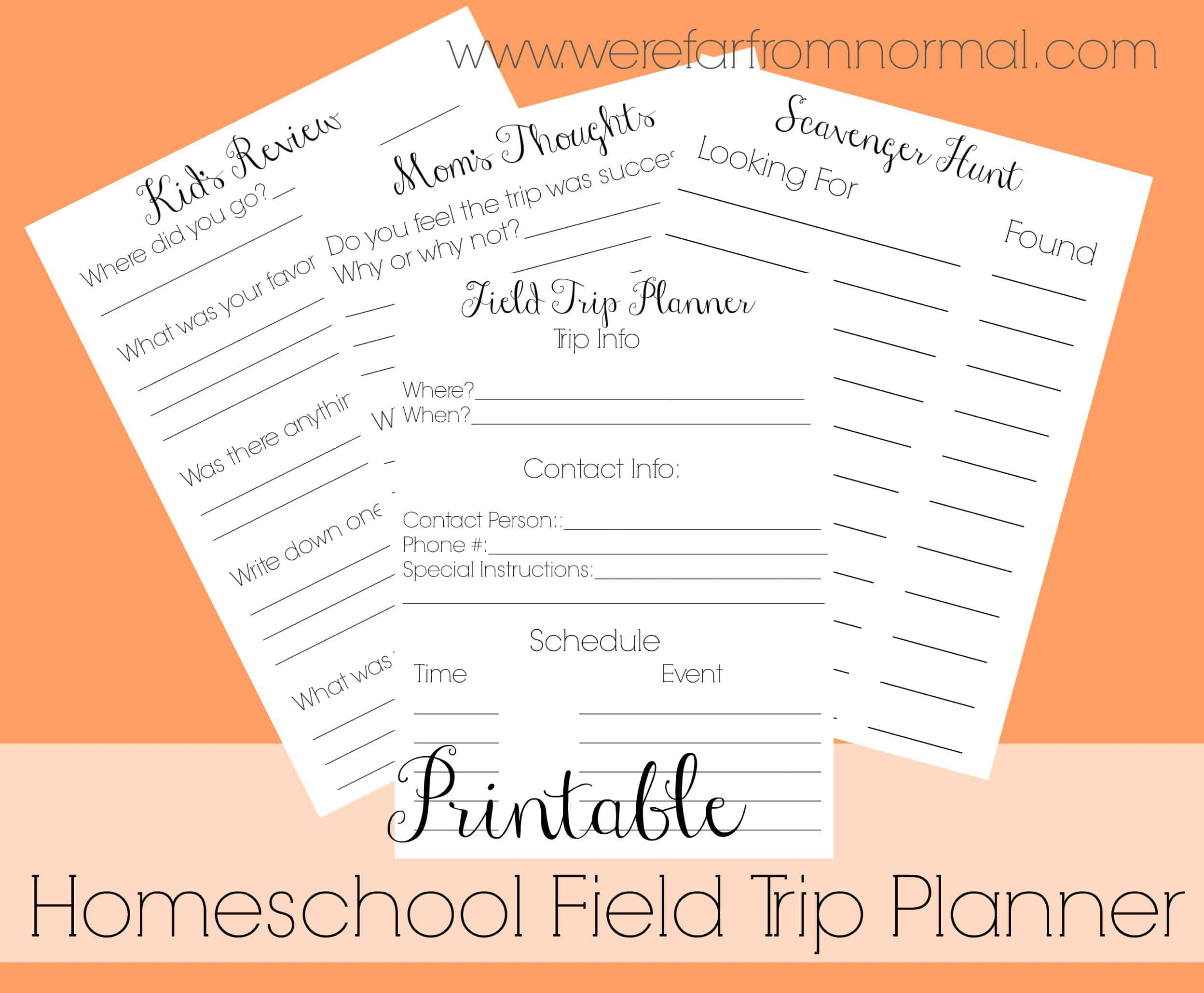 Free Printable Homeschool Field Trip Planner
