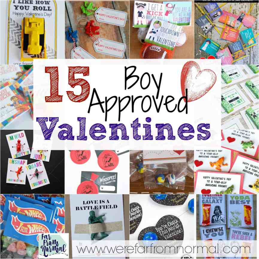 15 Boy Approved Valentines! Looking for something that's not to girly or lovey for your son's valentine's party There are so many awesome ideas here!