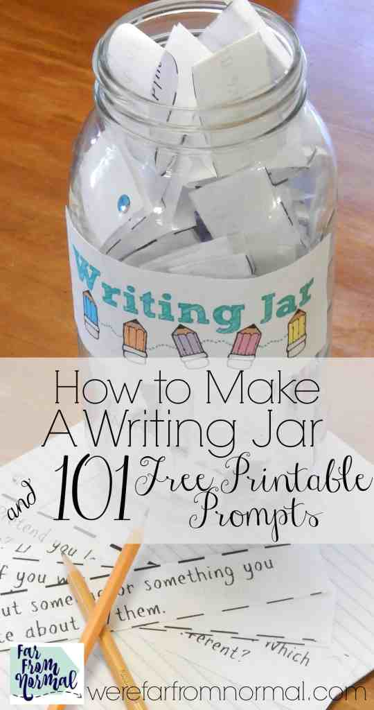This writing jar is such a fun way to get your kids writing! These prompts are great, creative, and fun! The kids really enjoy getting to pick out of the jar!