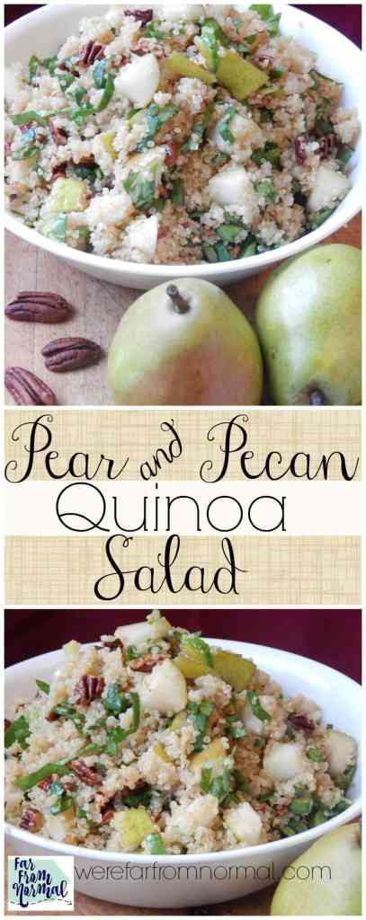 I love quinoa and this salad is perfect! Toasted pecans and pears combine with a delicious dressing for an awesome taste combination!