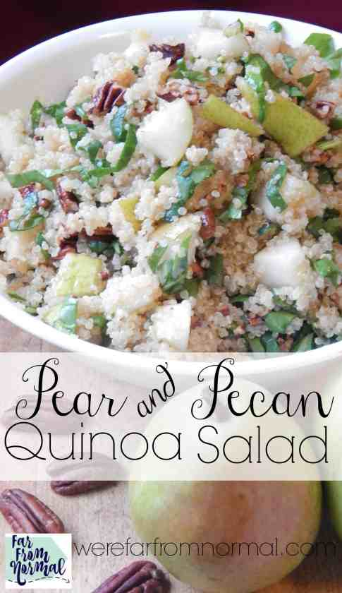 YUM!! This salad is so delicious! The sweetness of pears and the crunch of toasted pecans go perfectly with the quinoa! Delicious!