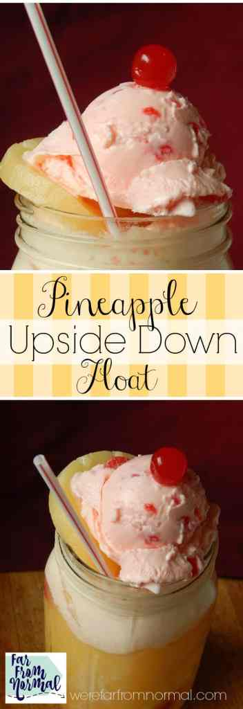 This float has all the flavors of pineapple upside down cake but in a refreshing float! SO delicious!