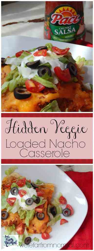 Your family will love this loaded nacho casserole! All the flavor of nachos with all the fixins and a secret ingredient that adds a boost of nutrition and veggies!