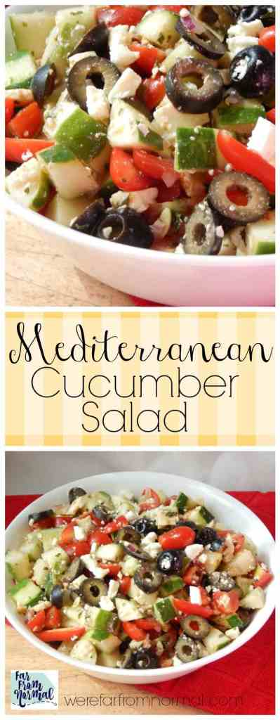 This salad combines all fantastic Mediterranean flavors in an easy delicious salad! Fresh tomatos, cucumbers, feta and more! The perfect summer salad!