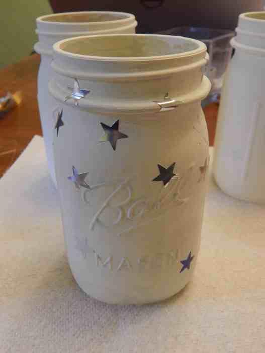 flag mason jar candle holders