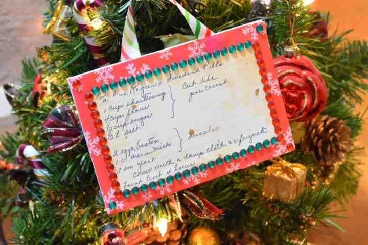 recipe card Christmas ornament
