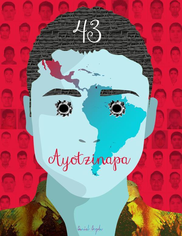 #IlustradoresConAyotzinapa intervinieron fotografías de los normalistas desaparecidos para acompañar la demanda de justicia.
