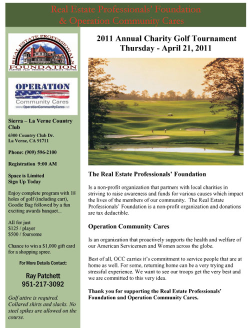 2011 Annual Charity Golf Tournament  Thursday – April 21, 2011