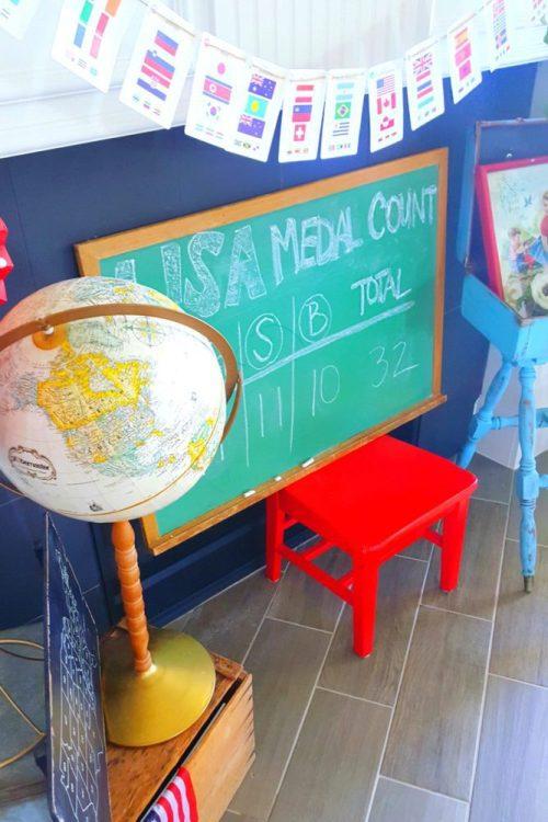 Vintage globe chalkboard and flag banner