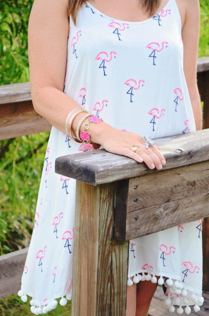 flamingo dress and bracelets