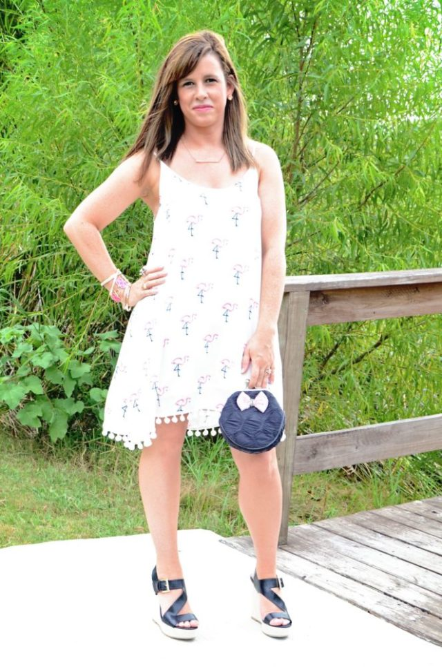 flamingo dress and steve madden wedges