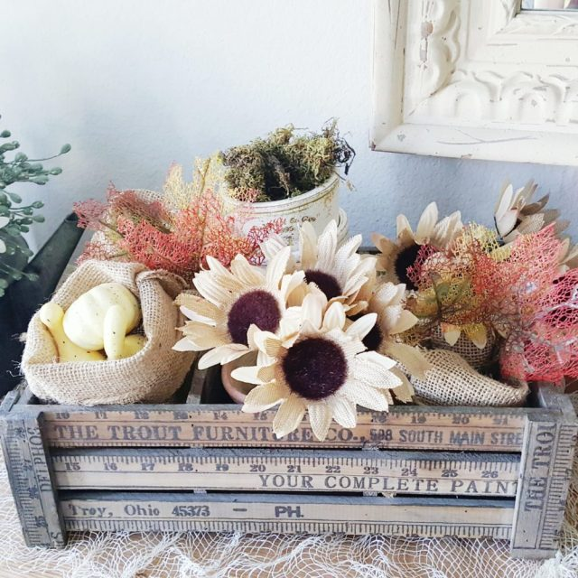 Fall Maple Leaves Burlap Sacks Pumpkins Gourds and Sunflowers