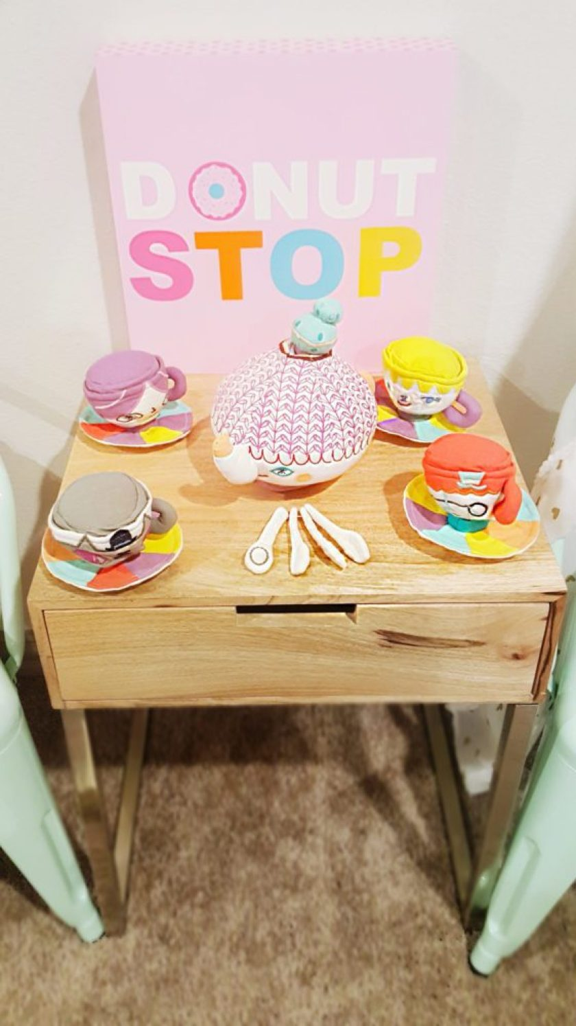 Playroom Makeover Donut Stop Sign Tea Party Table