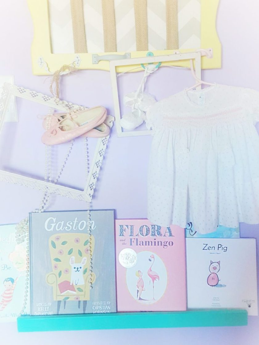 Georgia and Genevieve Pretty Pastel Nursery Book Shelf