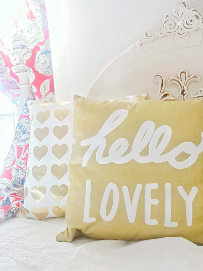 hello lovely gold pillow gold hearts pillow guest bedroom