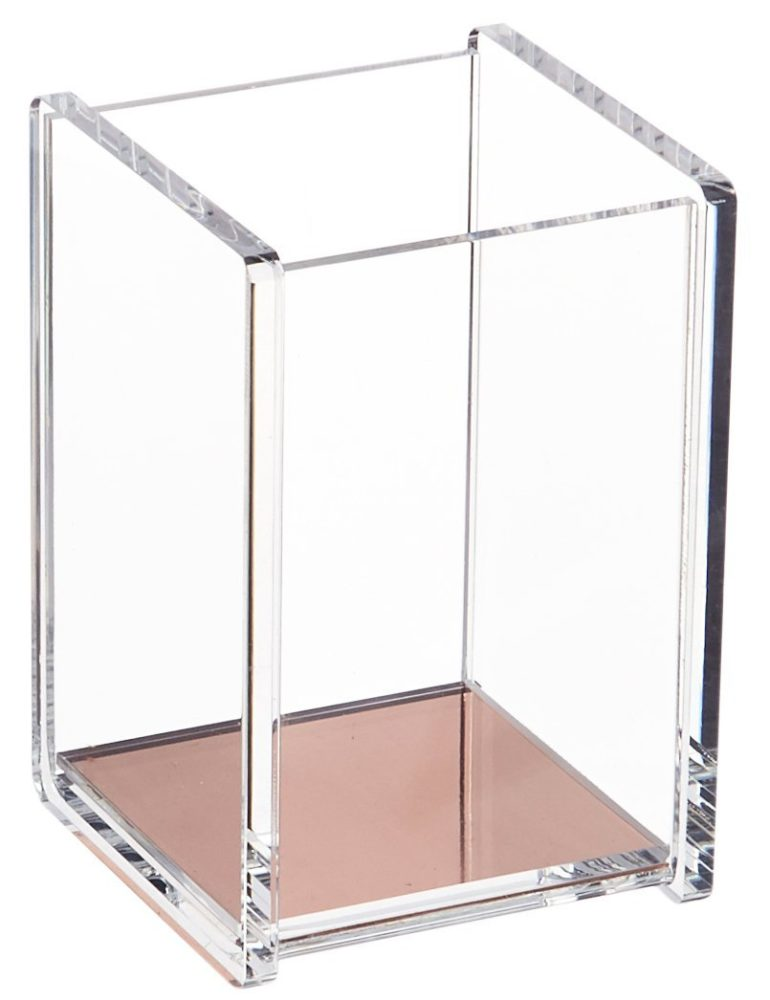 Clear and Rose Gold Pen Holder