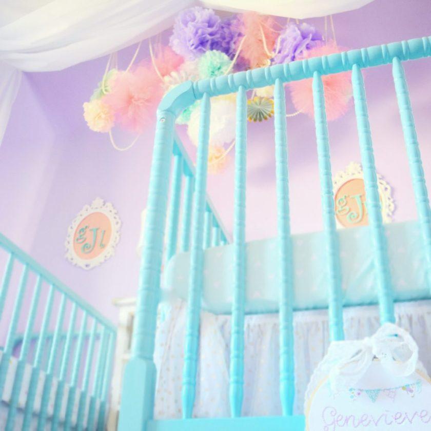 Genevieve and Georgia Nursery Teal Aqua Crib Jenny Lind Crib Tissue Balls Tulle Balls