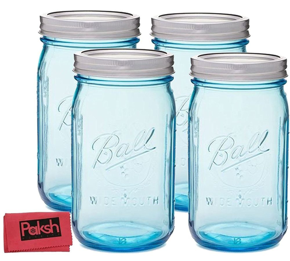 Blue Mason Jars with Lids 32 oz.