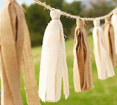 Tassle Fabric Garland Burlap Off White Neutrals