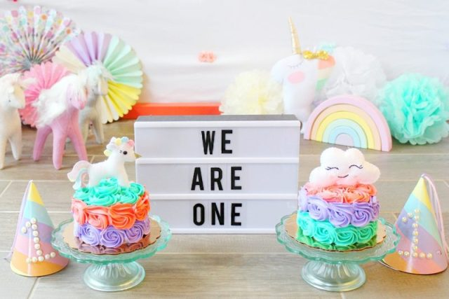 Twin Girls Cake Smash Unicorn Theme Light Up Marquee Sign