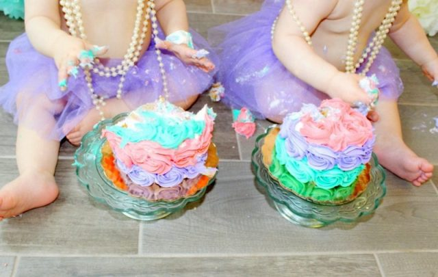 Twin Girls Cake Smash Coral Mint Lavender