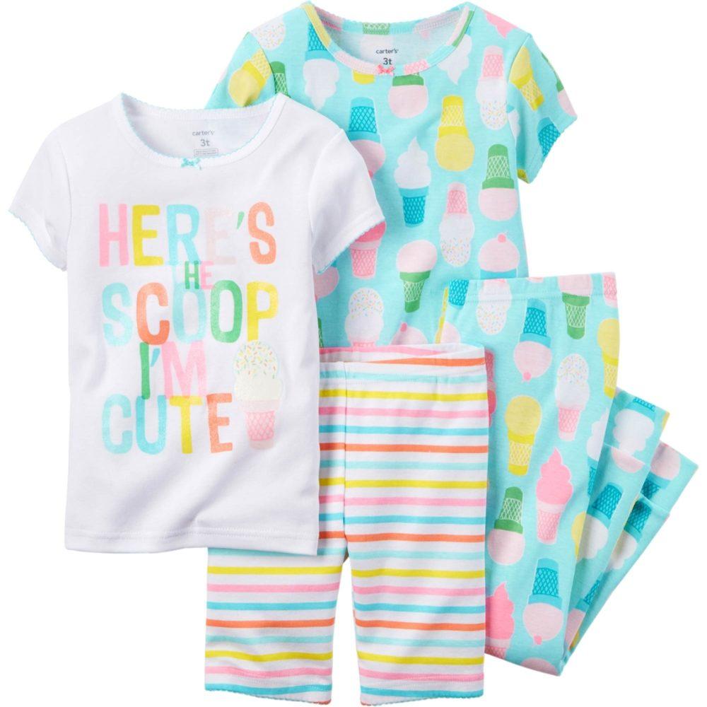 Carters Toddler Girls 3 Piece Cotton Pajama Set