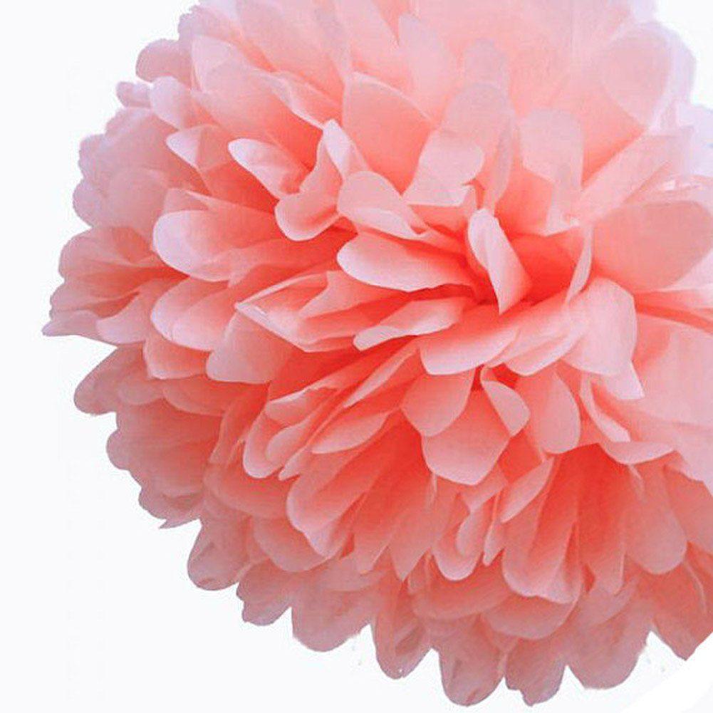 tissue paper flowers pom pom coral