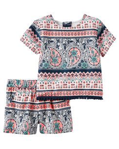 2-Piece Poplin Printed Top & Short Set
