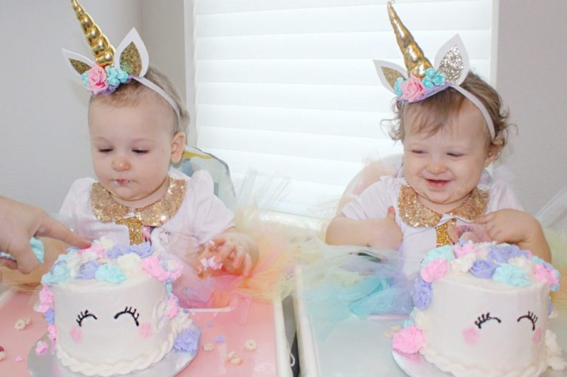 Unicorn First Birthday Cake Party Twin Girls 1st Decorations