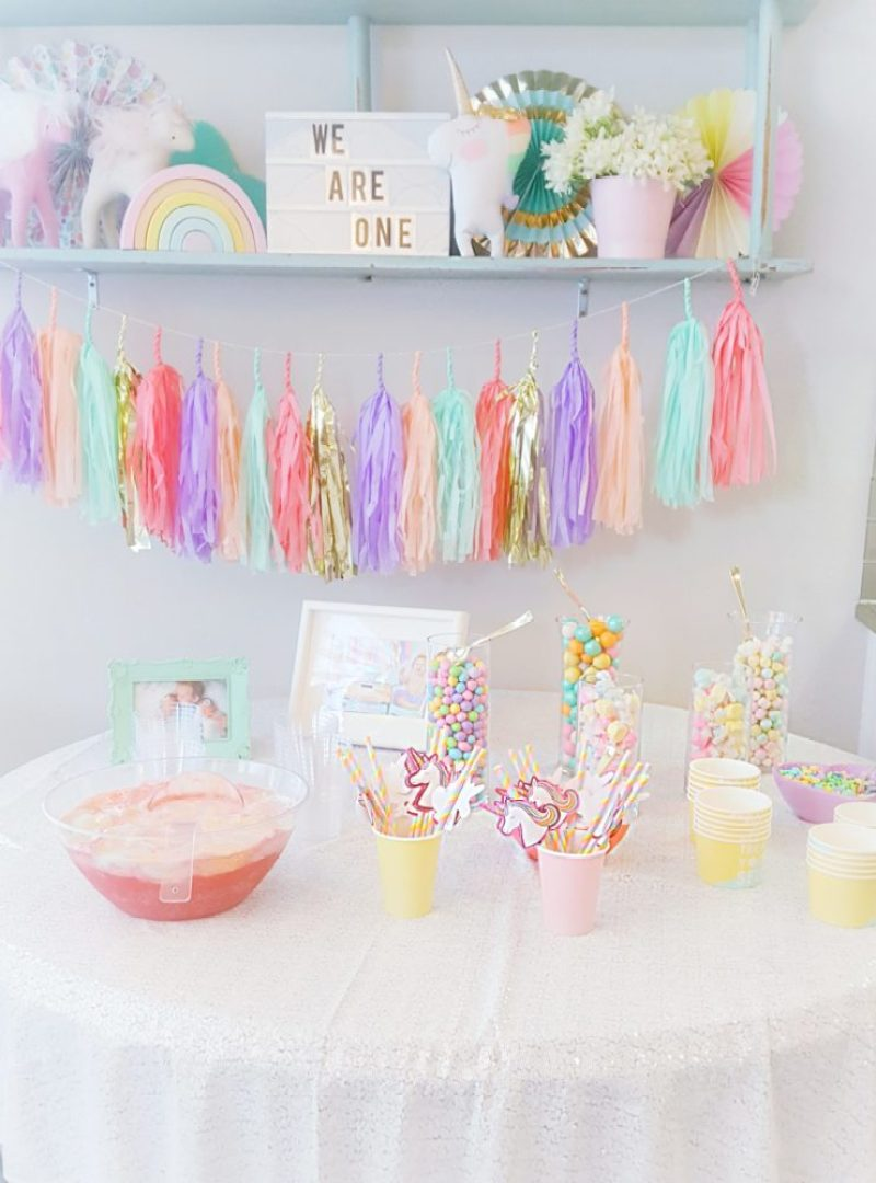 A Pretty Pastel Unicorn First Birthday Party We Re The Joneses