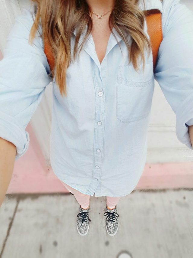 Chambray Shirt Blush Denim Jeans