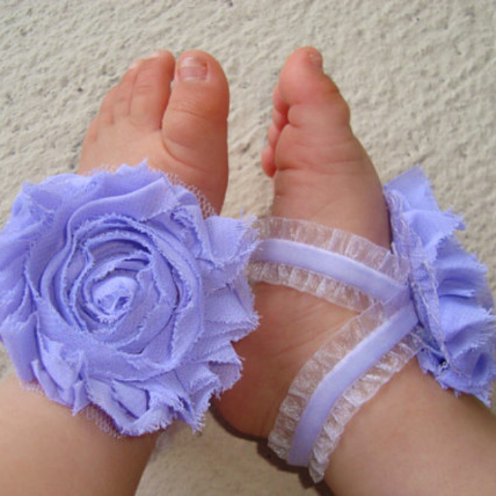 Baby Barefoot Sandals; Purple Ruffle Piggy Petals; Toe Blooms