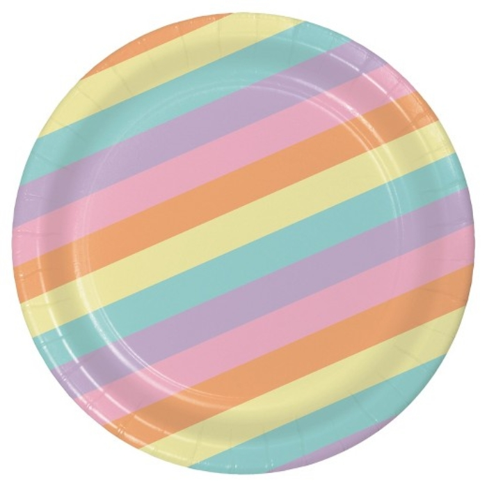 Pastel Rainbow Striped Plates Spritz