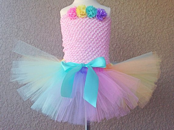 Pastel Rainbow Tutu with Clip-On Satin Bow , Easter Tutu, Easter Outfit Photo Prop, Baby Tutu, Girl Birthday Outfit