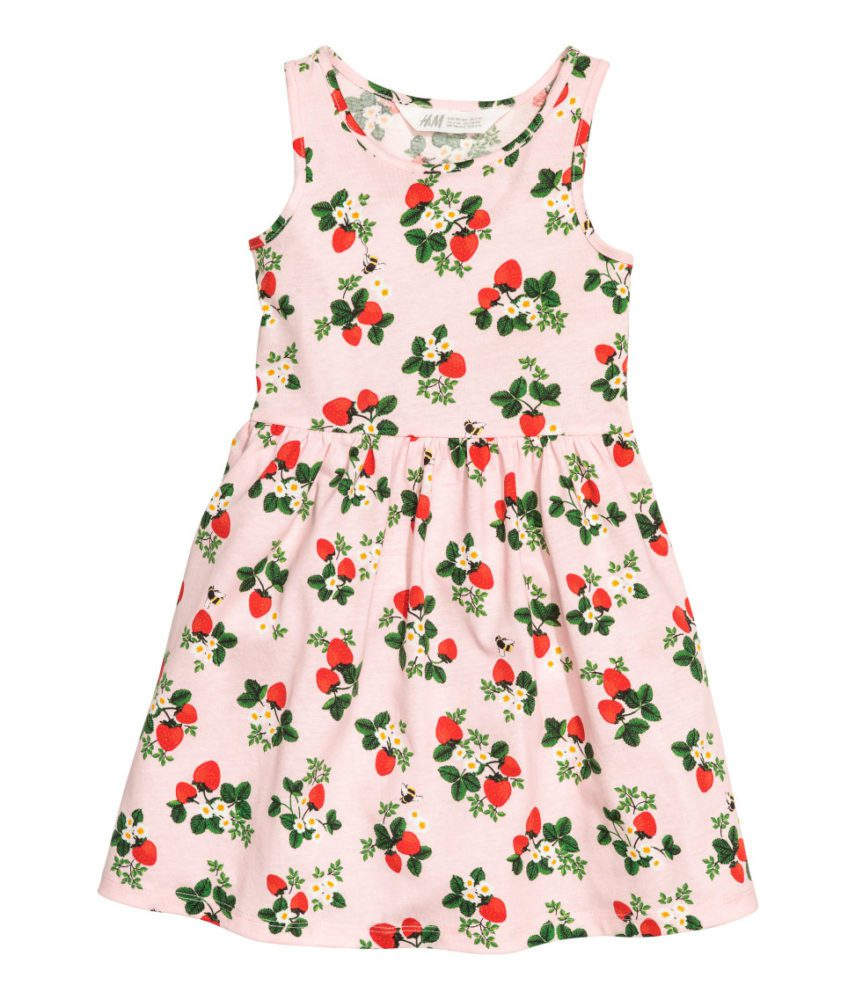 Strawberry Dress Little Girls Pattern Jersey Dress