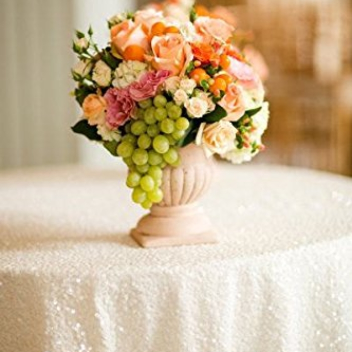 White Sequin Round Tablecloth