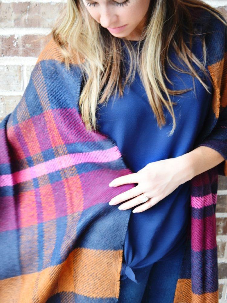 pink navy plaid blanket scarf