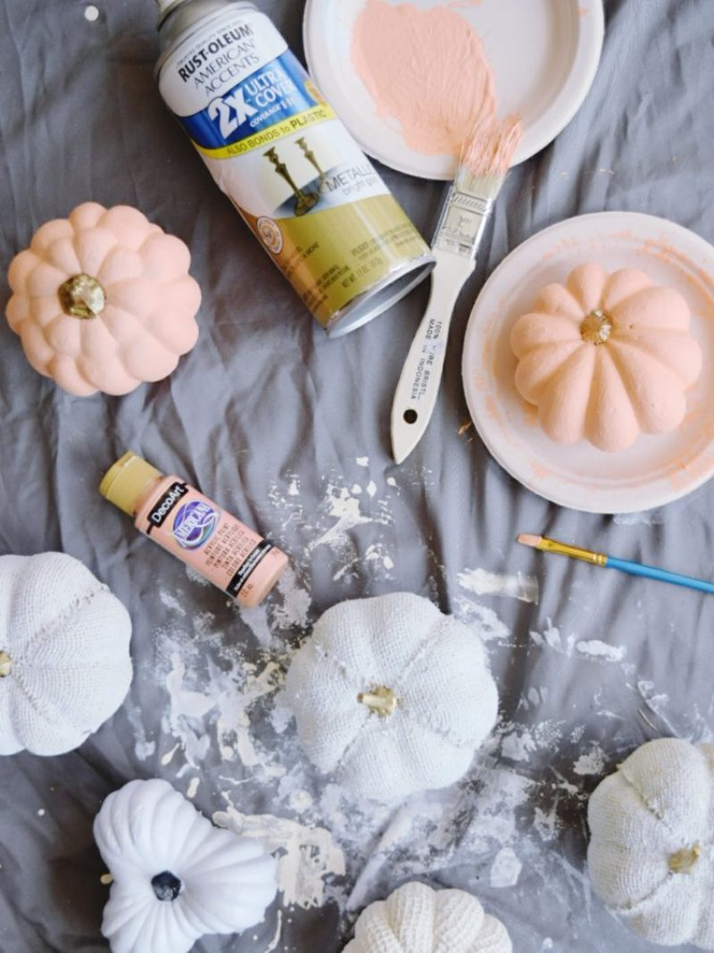 DIY painted pumpkins coral white gold